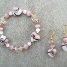 Lavender White Hearts Cats Eye Bead Bracelet Ear Ring Set