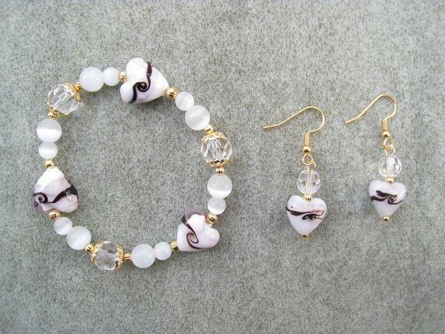 Pink White Hearts Crystal Cats Eye Bead Bracelet Ear Ring Set
