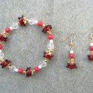 Red Glass Cherry Jade Crystal Bead Bracelet Ear Ring Set