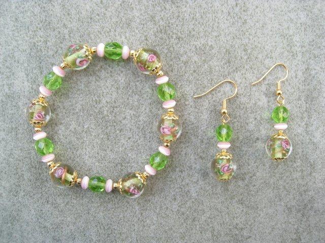 Green Pink Floral Cats Eye Crystal Glass Bracelet Ear Ring Set