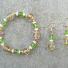 Green Pink Floral Cats Eye Crystal Glass Bracelet Ear Ring Set