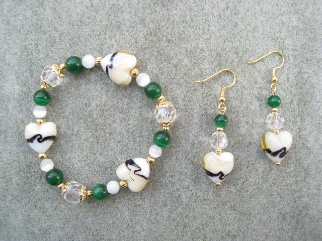 Champagne Yellow Heart Green Cats Eye Bracelet Ear Ring Set