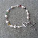 Salvation Bracelet Christian White Freshwater Pearls Glass Crystals #7