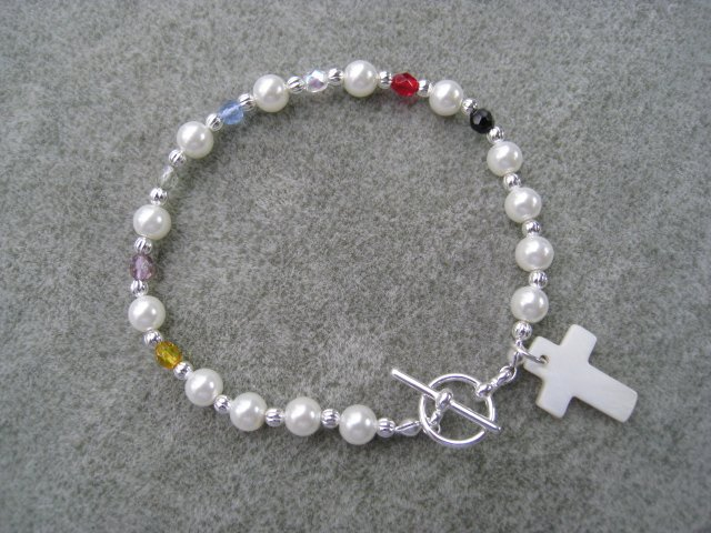 Christian Faith Salvation Bracelet Pearl Glass Crystals MOP Cross #3