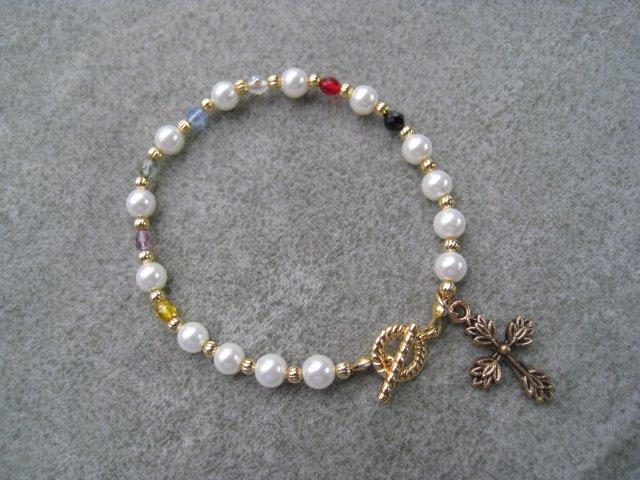 Christian Faith Salvation Bracelet Czech Glass Pearls Crystals Gold-toned Cross #8
