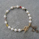 Christian Faith Salvation Bracelet Czech Glass Pearls Crystals Gold-toned Cross #8