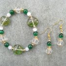 Green Hearts Green & White Cats Eye Glass Beaded Bracelet Ear Ring Set