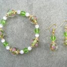 Green Pink Floral White Cats Eye Green Crystal Glass Bracelet Ear Ring Set