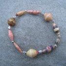 Multicolor Beaded Bangle Stretch Bracelet BeadforLife Silver Accents #2