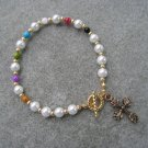 Christian Faith Salvation Bracelet Czech Pearl Glass Mother of Pearl beads #13