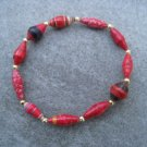 Red Beaded Bangle Stretch Bracelet BeadforLife Gold Accents #13