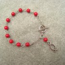 One Decade Red Fossil Gemstone Silver Open Fish Charm Christian Faith Rosary Bracelet