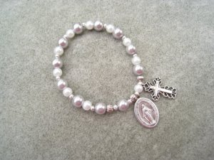 Czech Silver White Pearl Glass Rosary Bracelet Vintage Miraculous Medal