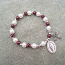 Czech White Burgundy Pearl Glass Rosary Bracelet Vintage Miraculous Medal