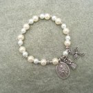Czech Ivory White Pearl Glass Rosary Bracelet Saint Agnes Medal Bride Groom Charm Silver Cross