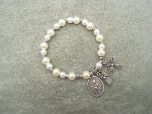 Czech Ivory White Pearl Glass Rosary Bracelet Saint Agnes Medal Bride Groom Charm Silver Cross