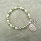 Czech Green White Pearl Glass Rosary Bracelet Saint Peter Medal Silver Cross