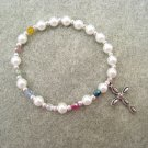 Salvation Stretch Bracelet Christian Czech Pearl Glass Crystals Silver Cross #S1