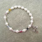 Christian Salvation Stretch Bracelet Czech Pearl Glass Beads Crystals Silver Cross #S2