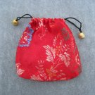Red Brocade Drawstring Tie Pouch Jewelry Rosary Cosmetics Gifts Trinkets Keepsake