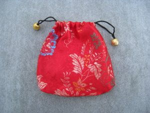 Red Brocade Drawstring Tie Pouch Jewelry Rosary Cosmetics Gifts Trinkets Keepsake