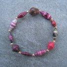 Pink Beaded Bangle Stretch Bracelet BeadforLife Gold Accents #15