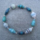 Blue Green Beaded Bangle Stretch Bracelet BeadforLife Silver Accents #11