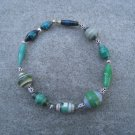 Green Beaded Bangle Stretch Bracelet BeadforLife Silver Accents #7