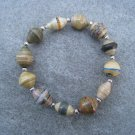 Earth Tone Beaded Bangle Stretch Bracelet BeadforLife Silver Accents #1