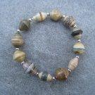 Earth Tone Beaded Bangle Stretch Bracelet BeadforLife Silver Accents #1