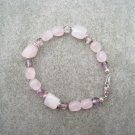 Rose Quartz Czech Olive Amethyst Crystal Glass Bracelet Silver Accents