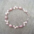 Lavender White Freshwater Pearls Amethyst Swarovski Crystal Bracelet Sterling Silver Clasp
