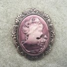 Purple Lady with Rose Cameo Brooch Dark Antiqued Setting