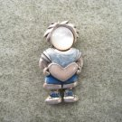 AJMC Vintage Blue Little Boy Holding Heart Signed Brooch Pin