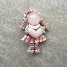 AJMC Vintage Pink Little Girl Holding Heart Signed Brooch Pin
