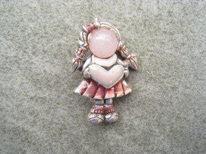AJMC Vintage Pink Little Girl Holding Heart Signed Brooch Pin