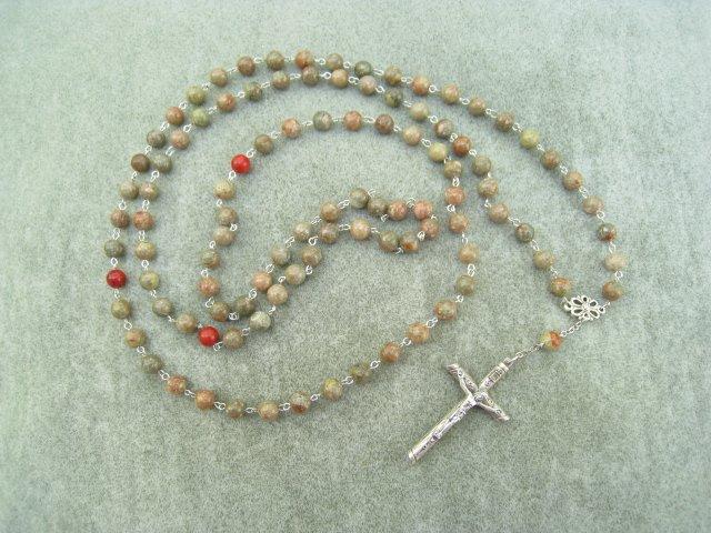 Autumn Jasper Gemstone Orthodox Chotki Prayer Beads Silver Crucifix 100 Beads