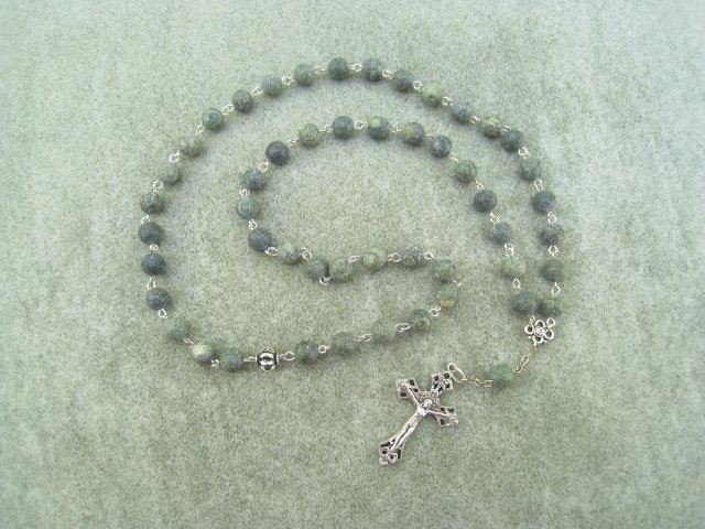 Russian Serpentine Gemstone Orthodox Chotki Prayer Beads Silver Crucifix 50 Beads