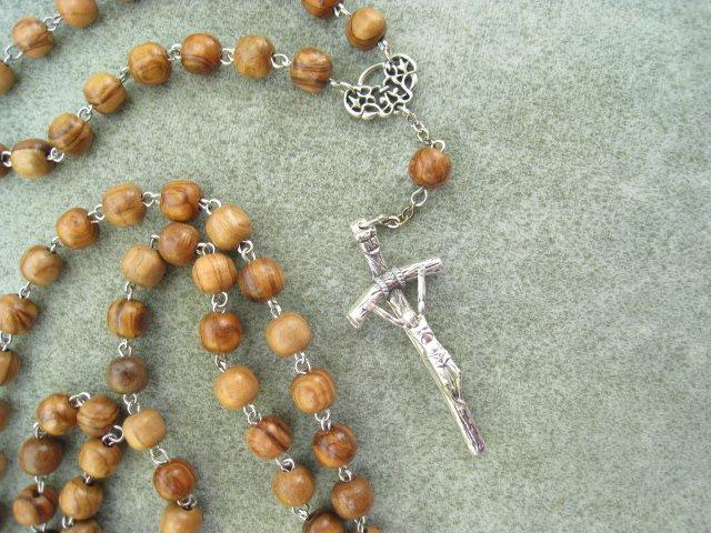 Olive Wood Orthodox Chotki Prayer Beads Silver Papal Crucifix 100 Beads