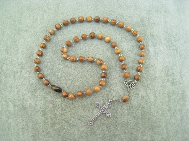Olive Wood Orthodox Chotki Prayer Beads Silver Crucifix 50 Beads