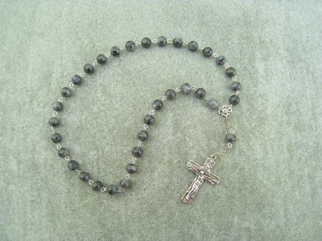 Larvikite Gemstone Orthodox Chotki Prayer Beads Silver Crucifix 33 beads