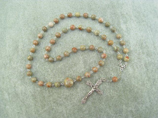 Autumn Jasper Gemstone Orthodox Chotki Prayer Beads Silver Crucifix 50 beads