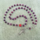 Plum Fossil Gemstone Orthodox Chotki Prayer Beads Silver Crucifix 50 beads