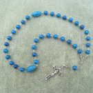 Blue Fossil Gemstone Orthodox Chotki Prayer Beads Silver Crucifix 33 beads