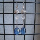London Blue Quartz Clear Crystal Vintage Style Dangle Ear Rings
