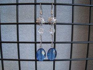 London Blue Quartz Clear Crystal Vintage Style Dangle Ear Rings