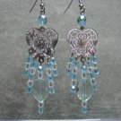 Aqua Quartz Faceted Oval Gemstones Clear and Aqua Crystals Silver Heart Filigree Dangle Ear Rings