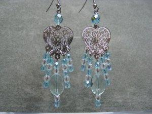 Aqua Quartz Faceted Oval Gemstones Clear and Aqua Crystals Silver Heart Filigree Dangle Ear Rings