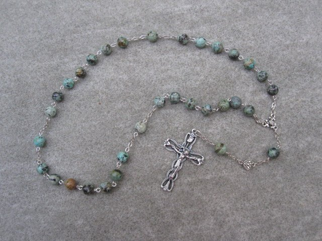 Turquoise Gemstone Anglican Rosary Silver Crucifix 8mm Beads