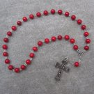 Red Fossil Gemstone Orthodox Chotki Prayer Beads Silver Cross 33 Beads